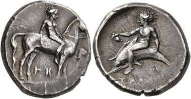 Lot 86: Calabria. Tarentum. Circa 365-355 BC. Didrachm or Nomos. Good very fine. Starting price: 150 CHF. Hammer price: 1,100 CHF.