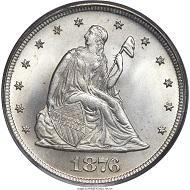 1876 Twenty Cent Piece MS67 PCGS Realized Price 88125 USD