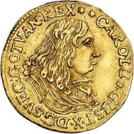 294 / Lot 3208: Sweden. Charles X Gustav, 1654-1660. Ducat 1657, Stockholm. Extremely rare. Very fine to extremely fine. Estimate: 20,000,- euros. Hammer price: 30,000,- euros.
