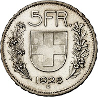 293 / Lot 2272: Switzerland. Confederacy. 5 francs 1928, Bern. Very rare. Almost FDC. Estimate: 7,500,- euros. Hammer price: 13,000,- euros.