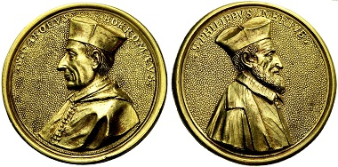 1680 medal by Giuseppe Vismara on Charles Borromeo and Philipp Neri. From NAC sale 53 (2009), 669.