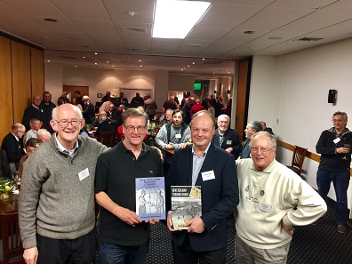 From l. to r. David Galt, President of the Royal Numismatic Society of New Zealand, Robert Pepping, author of 'New Zealand History Coined', Andrew Clifford, author of 'New Zealand Trading Banks', and Jim Duncan, President of the Numismatic Society of Auckland. Photo: NSA.
