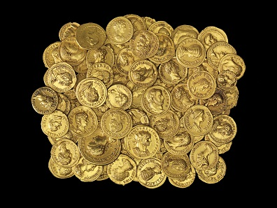 The exhibition shows 75 Roman gold coins from the Victor A. Adda Collection which have been donated to The Israel Museum.