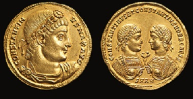 Solidus of Constantinus I and his cons. 326 CE.