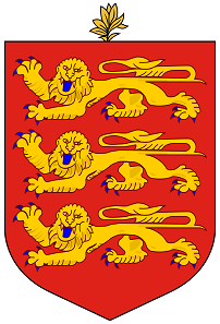 Guernsey's coat of arms differs from the English one only by the small branch above the shield. Source: Wikipedia.