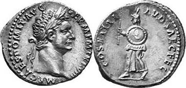 Domitianus, 81-96. Denarius, 88. COS XIIII LVD SAEC FEC harbinger with round shield and rod walking l. RIC 117. From auction Gorny & Mosch 134 (2004), 2710.