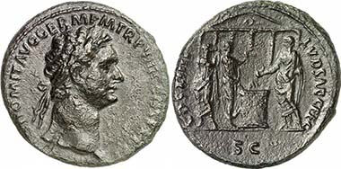 Domitianus, 81-96. As, 88. Rev. COS XIIII LVD SAEC FEC / SC Domitian performing a sacrifice at an altar in front of a temple, besides kithara player and flute player. RIC 385(a). From auction Gorny & Mosch 181 (2009), 2118.