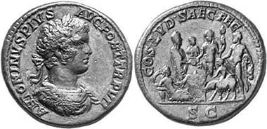 Caracalla, 197-217. Sestertius, 204. Rev. COS LVD SAEC FEC Caracalla performing a sacrifice from a patera at an altar, besides sacrifice puncher with pig, Bacchus and Hercules; in the exergue left lying Tellus. RIC 418. From auction Gorny & Mosch 138 (2005), 2226.