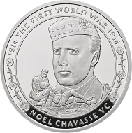 "Great Britain / £5 ""Noel Chavasse"" / .925 silver / 38.61mm / 28.28g / Reverse Design: David Cornell / Mintage: 1917 (set)."
