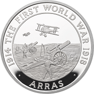"Great Britain / £5 ""The Battle of Arras"" / .925 silver / 38.61mm / 28.28g / Reverse Design: David Cornell / Mintage: 1917 (set)."