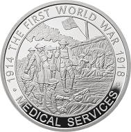 "Great Britain / £5 ""Medical Services"" / .925 silver / 38.61mm / 28.28g / Reverse Design: David Cornell / Mintage: 1917 (set)."
