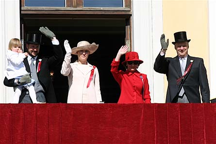 The Norwegian Royal Family. From left to right: HRH Princess Ingrid Alexandra, HRH The Crown Prince, HRH The Crown Princess, HM The Queen and HM The King. (Taken on May 17th 2007) - Source: Ernst Vikne / Wikipedia.