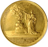 Lot 21406: Russia. Birth of Grand Duke Alexander Pavlovich Medal Struck in Gold by J.B. Gass/J.C.G. Jaeger, 1777. Catherine II (the Great) (1762-96). PCGS Genuine--Edge Repaired, Unc Details.