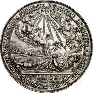 Lot 1721: Sweden. Silver medallion 1634 by Sebastian Dadler on the funeral of King Gustavus II Adolphus in Riddarholmskyrkan on June 22, 1634. Very rare. Extremely fine to FDC. Estimate: 5,000,- euros.