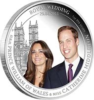 Australia - 1 AUD - 1oz 999 silver - Queen Elizabeth II, Prince William and Miss Catherine Middleton (reverse) - Mintage: 12,500.
