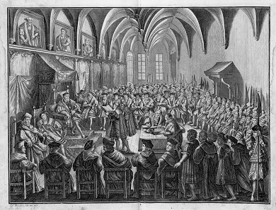 On June 25, 1530, Dr. Christian Beyer reads out the Augsburg Confession written by Melanchthon to Emperor Charles V. Copper engraving by Karl Remshard (1678-1735).