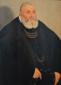 Georg 'the Pious', Margrave of Brandenburg-Ansbach. Painting by Lucas Cranach the Younger. Today in the Grunewald Hunting Lodge.