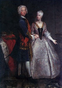 1729 bridal portrait of Margrave Karl Wilhelm Friedrich of Brandenburg-Ansbach and Princess Friederike Luise of Prussia. Antoine Pesne (1683-1757).
