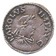 Denarius featuring the portrait of Charlemagne. Image: Fitzwilliam Museum.