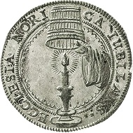 Nuremberg. Silver medal 1617 on the 100th anniversary of the Reformation. Estimate: 250 euros. From Künker sale 297 (September 27, 2017), No. 3572. – The image of hiding one's light under a bushel became a symbol of Luther bringing the truth of the bible, which had been concealed by the Catholic Church, to light.