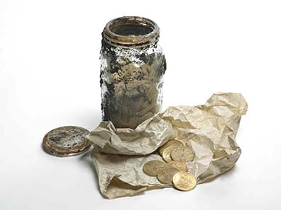 The Sulzbacher family stashed the treasure in a glass jar. Photo: Hackney Council.