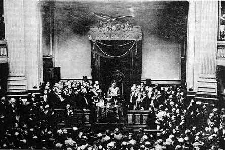 King Carol II takes the oath before the Romanian parliament on June 8, 1930.