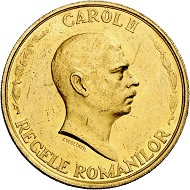 Carol II. 100 lei 1940, Bucharest, on the 10-year jubilee of government in office. From Phoibos collection. Very rare. Extremely fine. Estimate: 6.000,- euros. From Künker sale 298 (September 28, 2017), No 4444.