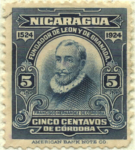 This 1924 stamp features the national founder and titular saint of the national currency, Francisco Hernández de Córdoba.