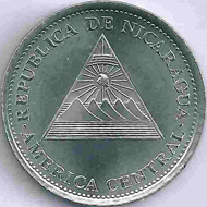 Like this 1-córdoba piece, all coins of Nicaragua feature the country's coat of arms, the mountain chain with the five volcanoes.