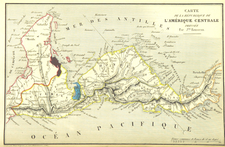 Historical map with the Republic of Central America, ca. 1840.