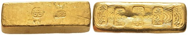 Lot 300: China. Qing-dynasty, 1644-1911. Gold ingot, no date, Tientsien. Extremely rare. Extremely fine. Estimate: 28,000,- euros.