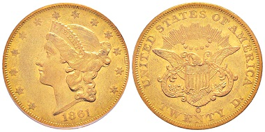 Lot 1329: USA. 20 dollars, New Orleans 1861. Very rare. Graded PCGS AU53. Estimate: 10,000,- euros.