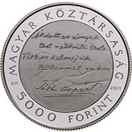 Hungary - 5000 HUF - 925 silver - 31.46 g - 38.61 mm - 125th Anniversary of Birth of Árpád Tóth - 2,000 (BU) and 6,000 (proof) - M. Csikai.