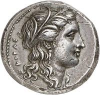 295 / Lot 214: Syracuse (Sicily). Agathokles, 317-289 BC. Tetradrachm, 304-289. From Sternberg sale 13 (1983), No. 97. Extremely fine. Estimate: 7,500,- euros. Hammer price: 11,000,- euros.
