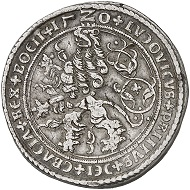 296 / Lot 1938: Schlick. Stephan Burian, Heinrich, Hieronymus, and Lorenz, 1505-1532. Double taler 1520, Joachimstal, with the title of Ludwig II, King of Hungary and Bohemia. From the collection of a history enthusiast. From the Köhlmoos Collection, MMAG 91 (2001), No. 889. Extremely rare. Very fine. Estimate: 20,000,- euros. Hammer price: 38,000,- euros.