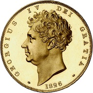 298 / Lot 4349: Great Britain. George IV, 1820-1830. 5 pounds 1826, London. Only 150 specimens struck. From the Phoibos Collection. Graded PCGS PR64 Deep Cameo. Proof, minimally touched. Estimate: 25,000,- euros. Hammer price: 200,000,- euros.