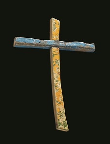 Lampedusa Cross: Wooden cross made by Franciso Tuccio from the wreckage of a refugee boat off Lampedusa, 2015, Italy. Photo: © Trustees of the British Museum.