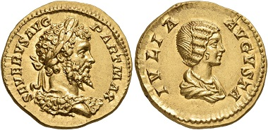 Los 244: Septimius Severus, 193-211. Aureus, 201. Virtually as struck. Estimate: 30,000 CHF. Hammer price: 52,000 CHF.