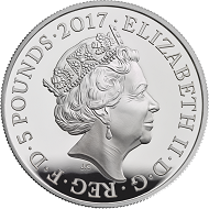 United Kingdom / 5 Pounds / Silver .925 / 28.28g / 38.61mm / Design: Jody Clark (obverse) and Stephan Taylor (reverse) / Mintage: 5000.