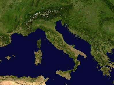 Italian peninsula with Sicily. Source: NASA / Wikipedia.
