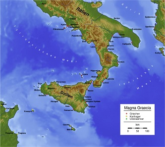 Map of ancient Magna Graecia. Source: Captain Blood / CC BY-SA 3.0