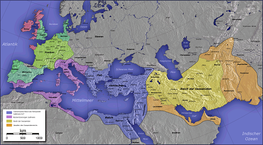 Justinian's conquests. Source: Captain Blood / CC BY-SA 3.0