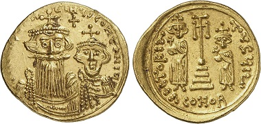Constans II (641-668) with Constantine IV. Solidus, Syracuse. From Gorny & Mosch sale 244 (2017), 634.