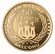 San Marino / 50 Euros / Gold .900 / 16.129 g / 28mm / Design: Antonella Napolione (obverse) and Andrew Lewis (reverse) / Mintage: 500.