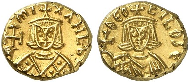 Michael II (820-829) with Theophilus (829-842). From Künker sale 216 (2012), 1508.
