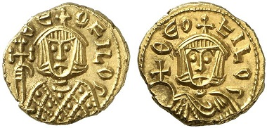 Theophilus (829-842) with his late father Michael II (820-829). Solidus, Syracuse 831-842. From Künker sale 216 (2012), 1509.