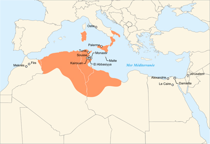 The Aghlabid Empire. Source: Nanoxyde / CC BY-SA 2.5