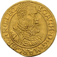 Joachim II. Ducat 1560, Berlin. Only known specimen in private possession. Almost extremely fine. Estimate: 60,000 euros. From Künker sale 300 (2018), No. 8.