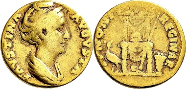 Lot 309: Antoninus Pius for Faustina I. Aureus 138/141, Rome. Very rare. Edge filed, probably to serve as a piece of jewelry, fine – very fine. Ex Prof. Dr. H. Hommel Collection. Estimate: 600 euros.