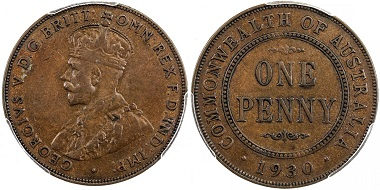 Lot 2151: Australia. George V, 1910-1936. Penny, 1930(m). PCGS graded VF35, RRR. Estimate: 8,000-10,000 USD.